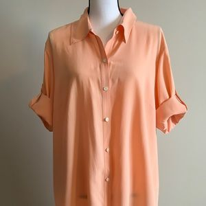 LAFAYETTE 148 New York 100% Silk Button Front Top